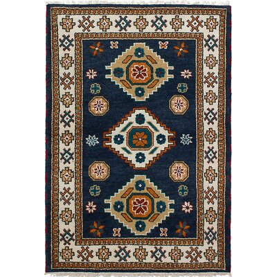 One-of-a-Kind Berkshire Hand-Knotted Wool Dark Navy Area Rug