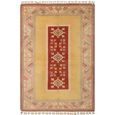 One-of-a-Kind Biddlesden Hand-Knotted Wool Light Gold/Red Area Rug
