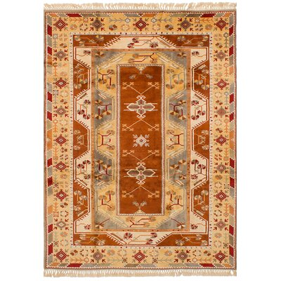Biddlesden Hand-Knotted Wool Beige/Burnt Orange Area Rug