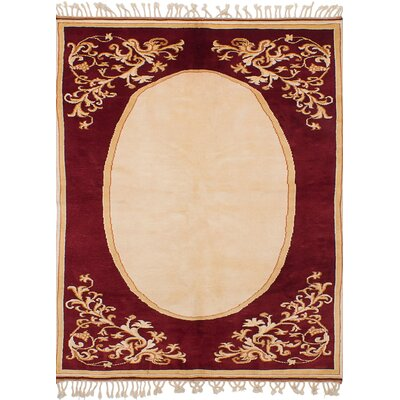 Bettina Hand-Knotted Wool Dark Red/Ivory Area Rug