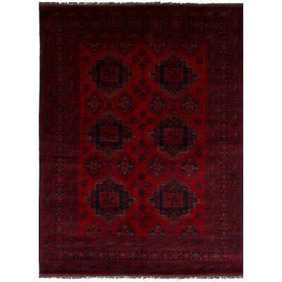 Bilberry Traditional Hand-Knotted Wool Red Area Rug