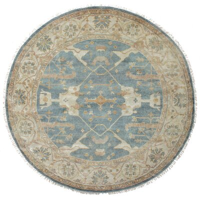 One-of-a-Kind Biddlesden Hand-Knotted Wool Dark Baby Blue Area Rug