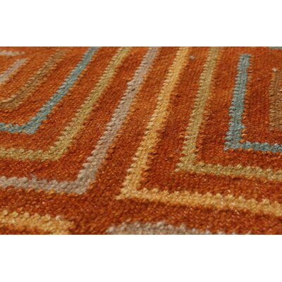 Bilertine Hand-Woven Wool Burnt Orange Area Rug