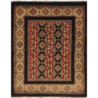 One-of-a-Kind Bernard Hand-Knotted Wool Black/Red Area Rug