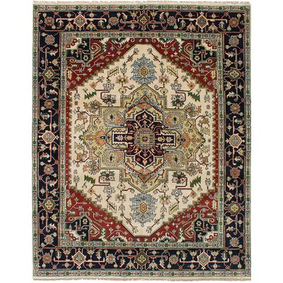Charleena Hand-Knotted Wool Cream Area Rug