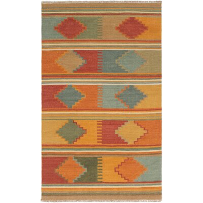 Barre Hand-Woven Wool Orange/Red Area Rug