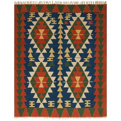 Barnett Traditional Hand-Woven Wool Navy Blue Area Rug