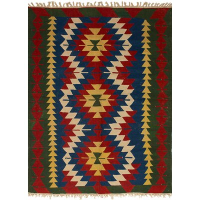 Barnett Hand-Woven Wool Navy Blue/Red Area Rug