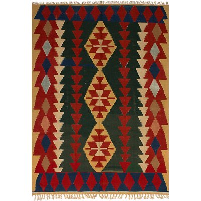 Barnett Hand-Woven Wool Dark Green/Red Area Rug