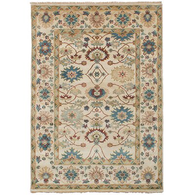 Bassford Wool Hand-Knotted Cream Area Rug Rug Size: 52 x 77