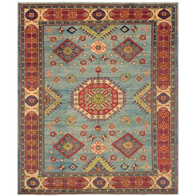 One-of-a-Kind Bernard Hand-Knotted Wool Light Blue/Red Area Rug