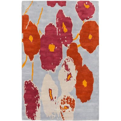 Enosburgh Hand Tufted Wool Dark Orange/Light Violet Area Rug
