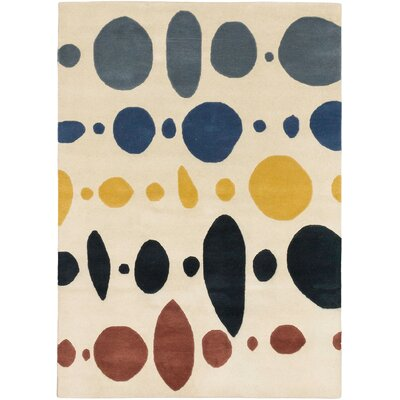 Craftsbury Hand Tufted Wool Cream/Blue Area Rug