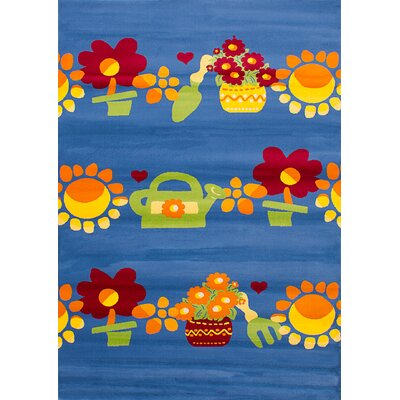 Luann Blue Flowers Area Rug
