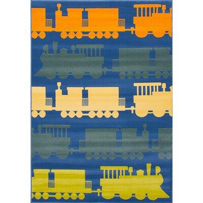 Luann Slate Blue Train Area Rug