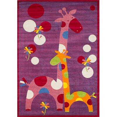 Luann Red Giraffe Area Rug