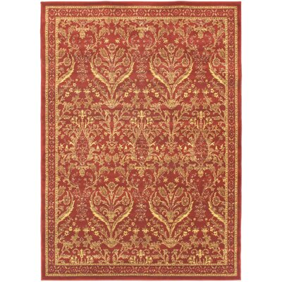 Sennett Dark Red Area Rug Rug Size: 47 x 65