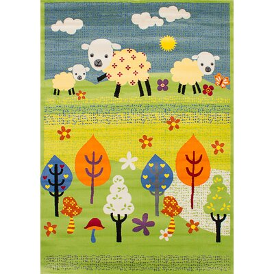 Luann Light Green Sheep Area Rug