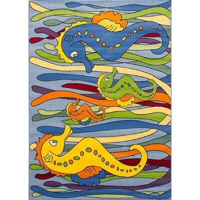 Luann Slate Blue Seahorse Area Rug