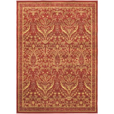 Sennett Dark Red Area Rug Rug Size: 55 x 79