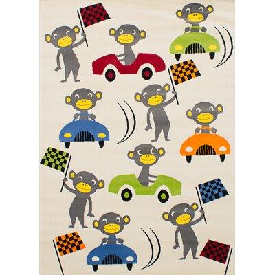 Luann Ivory Monkey Area Rug Rug Size: 53 x 76