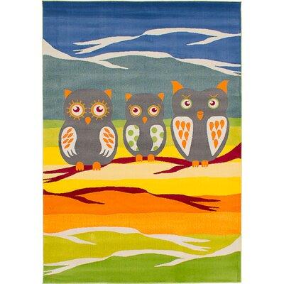 Luann Blue/Orange Owls Area Rug