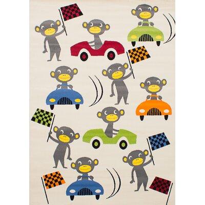 Luann Ivory Monkey Area Rug Rug Size: 55 x 78