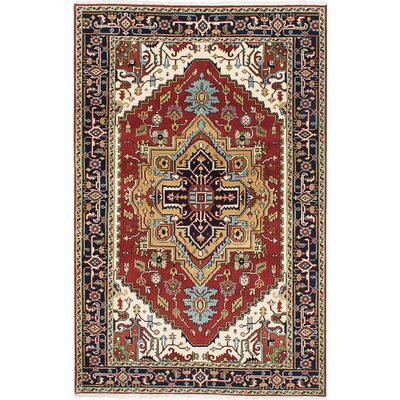 Briggs Hand Knotted Rectangle Wool Dark Red Area Rug