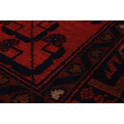 Rosales Tribal Hand Knotted Rectangle Wool Red Area Rug