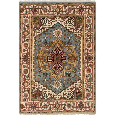Briggs Hand Knotted Wool Cream/Light Blue Area Rug