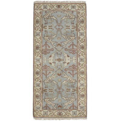One-of-a-Kind Li Traditional Hand Knotted Wool Light Blue Area Rug