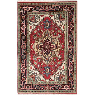 One-of-a-Kind Briggs Hand Knotted Wool Beige/Dark Burgundy Area Rug