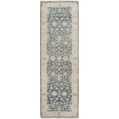 One-of-a-Kind Li Hand Knotted Runner Wool Dark Gray Area Rug
