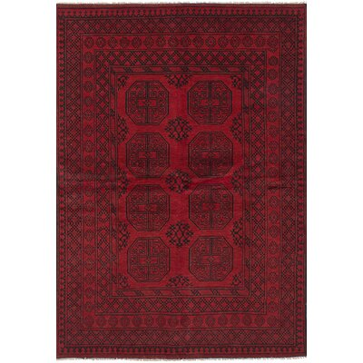 One-of-a-Kind Bridges Traditional Hand Knotted Wool Red Fringe Border Area Rug