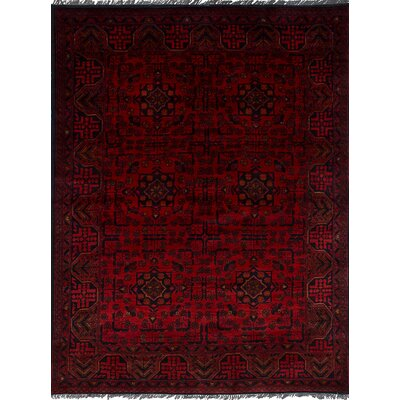 Rosales Tribal Hand Knotted Rectangular Wool Red Area Rug