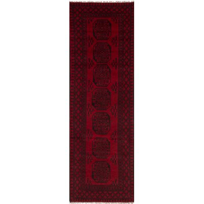 Bridges Geometric Hand Knotted Runner Wool Red Area Rug