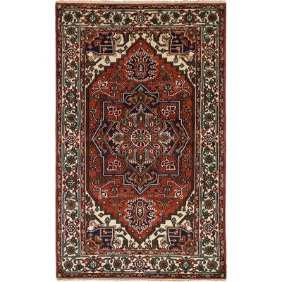 Briggs Hand Knotted Rectangle 100% Wool Red Area Rug