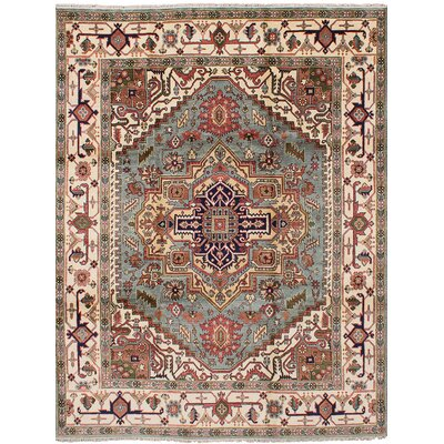 One-of-a-Kind Briggs Hand Knotted Wool Light Blue Area Rug