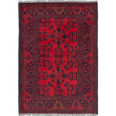 One-of-a-Kind Rosales Geometric Hand Knotted Wool Red Area Rug