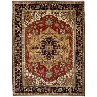 Briggs Traditional Geometric Hand Knotted Wool Red Area Rug