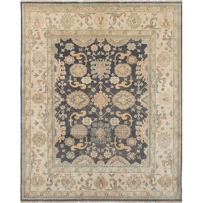 Li Traditional Hand Knotted Wool Dark Gray Area Rug