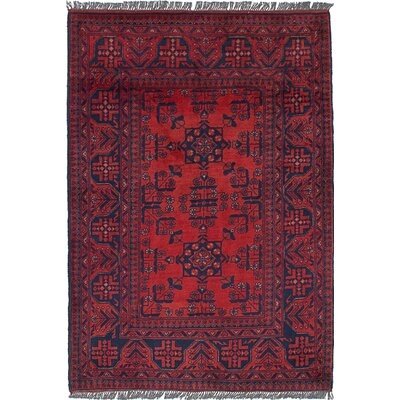 Rosales Hand Knotted Wool Dark Red Area Rug