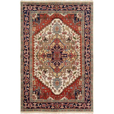 Briggs Hand Knotted Rectangle Wool Cream/Red Area Rug