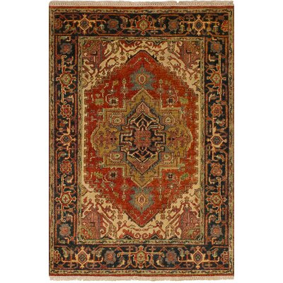 One-of-a-Kind Briggs Traditional Geometric Hand Knotted Rectangle Wool Red Area Rug