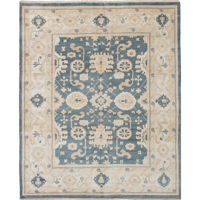 One-of-a-Kind Li Hand Knotted Wool Light Denim Blue Area Rug