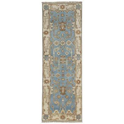 One-of-a-Kind Li Hand Knotted Wool Light Blue Indoor Area Rug