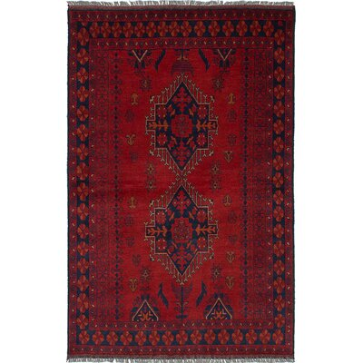 Rosales Traditional Hand Knotted Wool Red Area Rug
