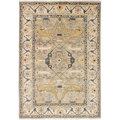 One-of-a-Kind Li Hand Knotted Rectangle Wool Light Gray Area Rug