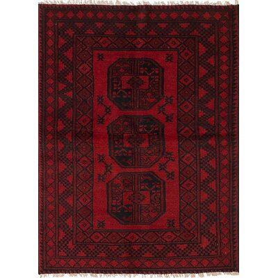 One-of-a-Kind Bridges Hand Knotted Wool Red Border Area Rug