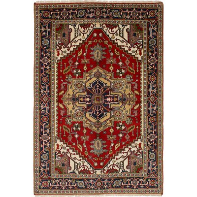 One-of-a-Kind Briggs Geometric Hand Knotted Rectangle Wool Red Area Rug